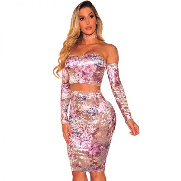 eac7c33e28 Hualong Off-shoulder Flora Crop Top And Skirt Set - Online Store for ...
