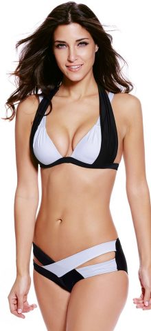 Sexy Black White Halter Cut Out Girls Bikini