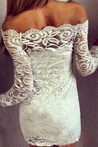 White Floral Boat Neck Lace Off The Shoulder Mini Dress