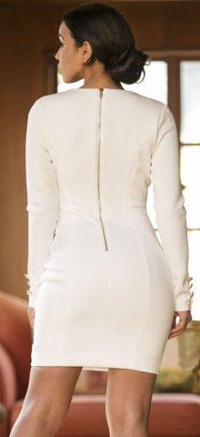 White Long Sleeve Deep V Bodycon Mini Dress