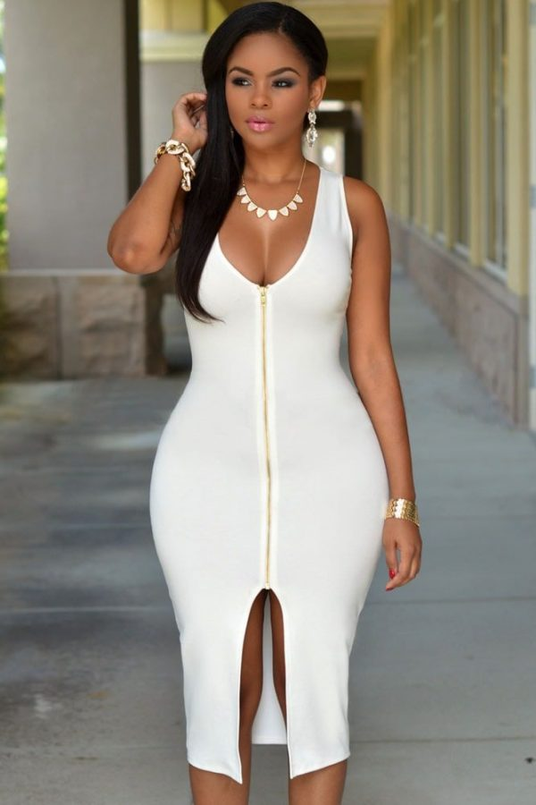 White Sleeveless Gold Zipper Front Knee Length Fitted Dresses