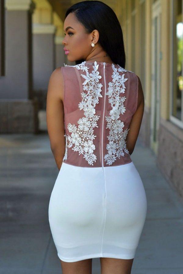 Women Club Mini Floral Short White Lace Dress
