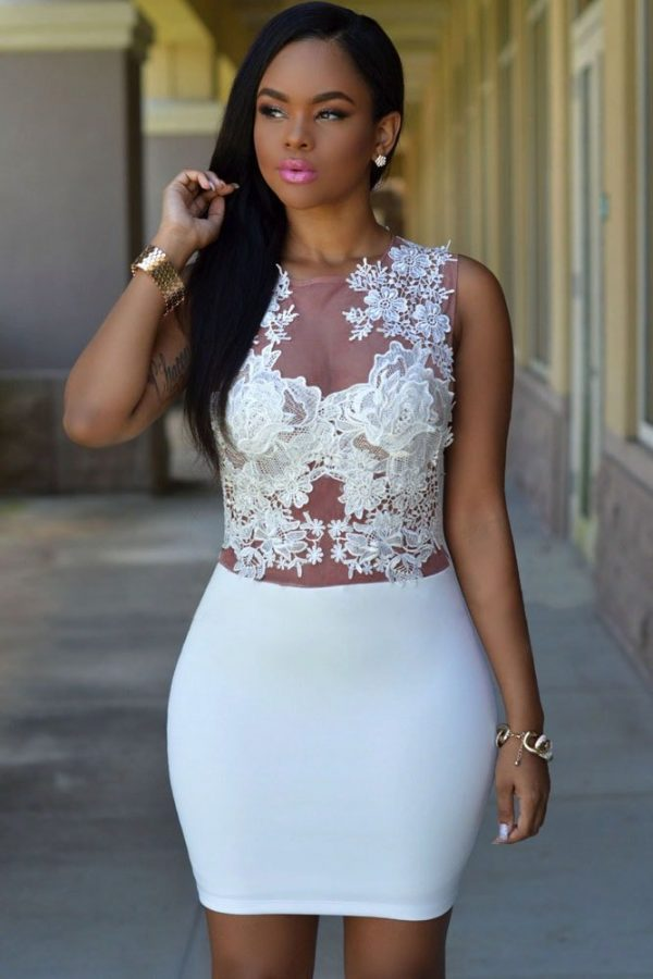 Women Club Mini Floral Short White Lace Dress - Online ...