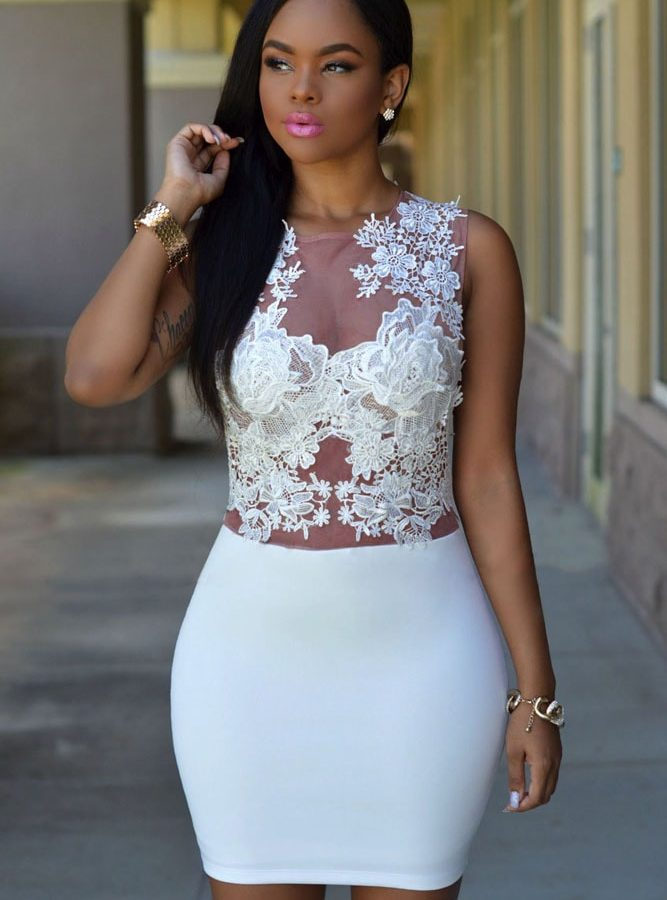 White lace sexy dress