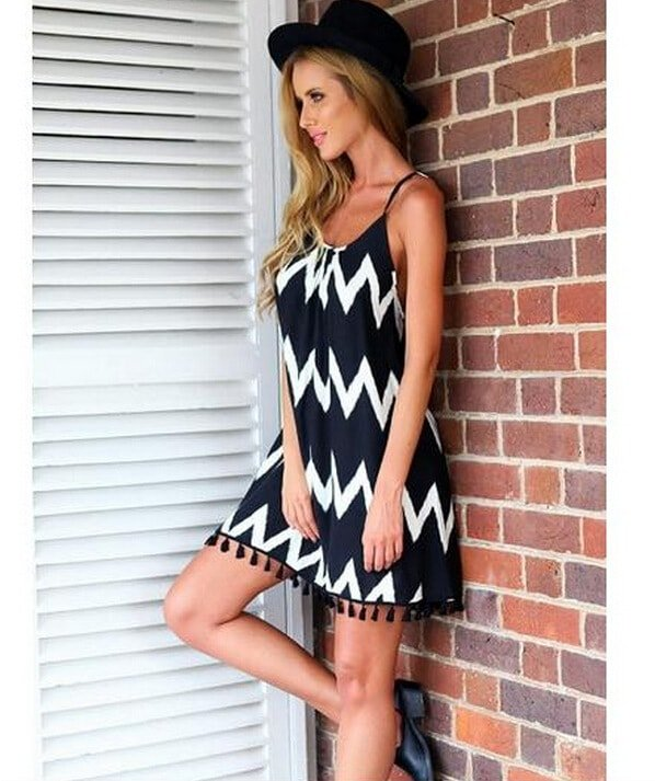 Women Cute Wave Stripe Strappy Beachy Sundresses