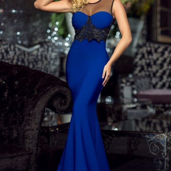 Women Elegant Sleeveless Long Navy Blue Prom Dresses