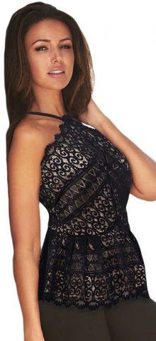 Women Off The Shoulder Floral Black Lace Blouses