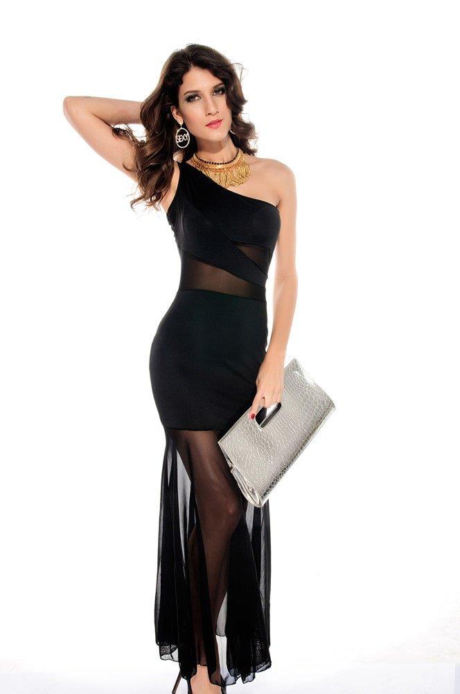 Women One Shoulder Fishtail Black Chiffon Dress Online