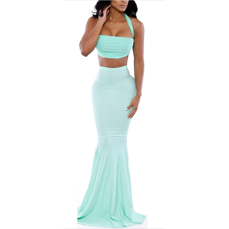 db9047ec7528 Women Party Light Blue Mermaid Crop Top And Skirt - Online Store for ...