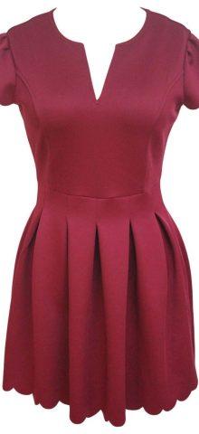 Women Party Short Sleeve Dull Red SKater Dress