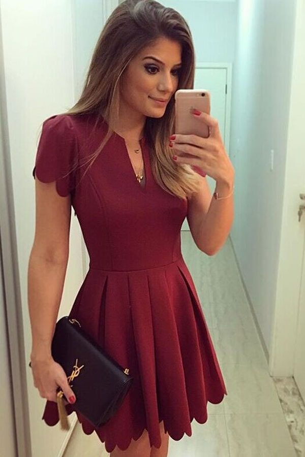 18cc350ce024 Women Party Short Sleeve Dull Red SKater Dress - Online Store for ...