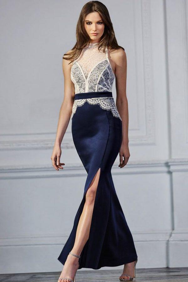 Women Party White Lace Top Slit Blue Petite Maxi Dresses