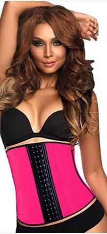 Women Pink Steel Boned Plus Size Waist Training Corset