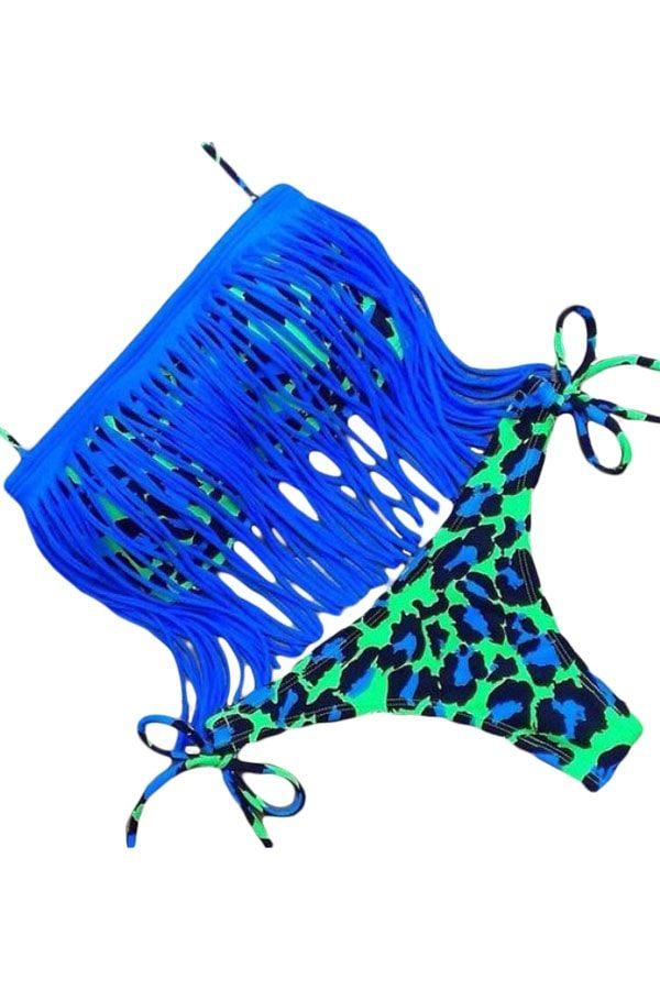 Women Sexy Halter Blue Tassel Bathing Suit