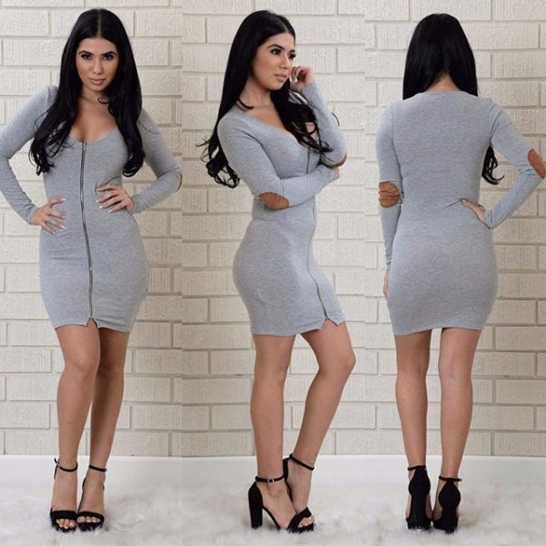 Zipper Design Broken Holes Gray Long Sleeve Mini Dress
