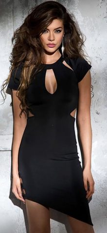 Black Funky Short Sleeve Cut out Cute Club Outfits