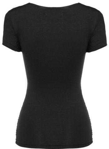 Black Ruched Short Sleeve Summer Women Dressy Tops