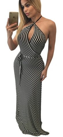 Black White Stripes Sleeveless Halter Prom Dresses