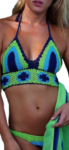Blue and Green Sexy Girl Strappy Crochet Bikini