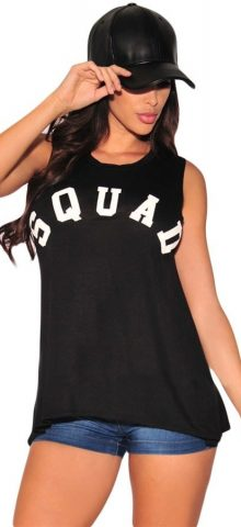 Fashion Summer Black Cool Girl Letter Printed Tank Tops