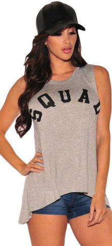 Fashional Summer Gray Cool Letter Print Ladies Tank Tops
