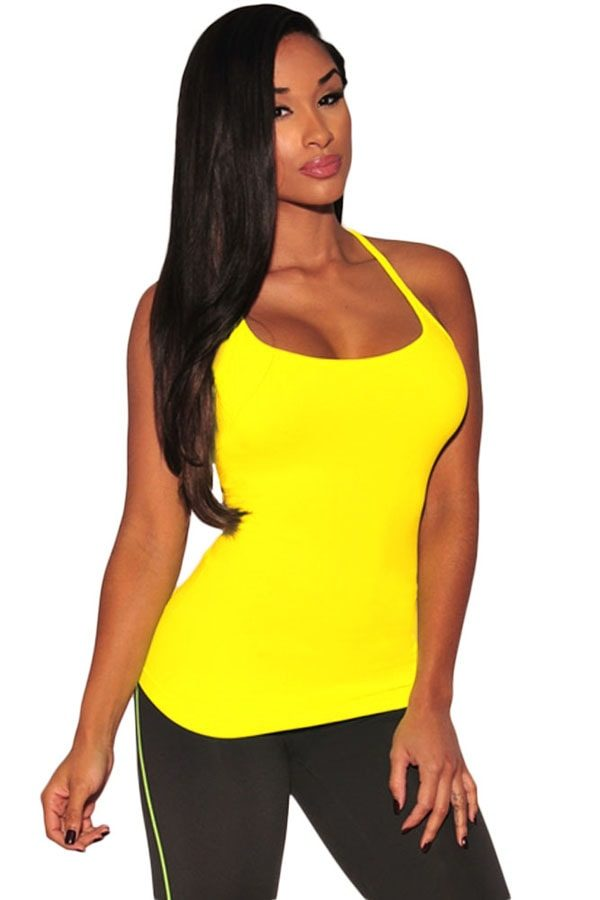 Girl Summer Sleeveless Strappy Yellow Halter Top