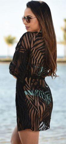 Hot Summer Women Sexy Black Beach Coverups