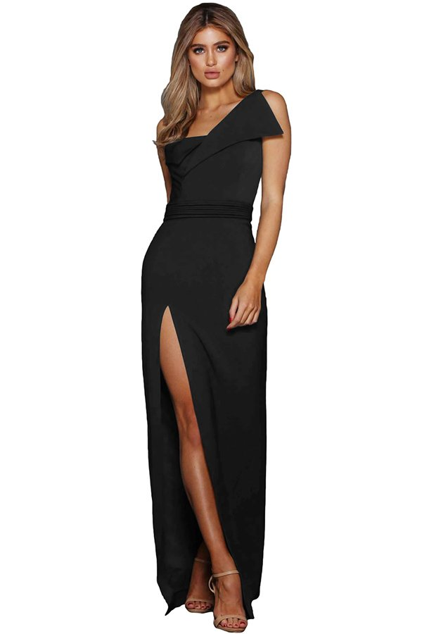 Hualong Women Black Floor Length Evening Maxi Dresses