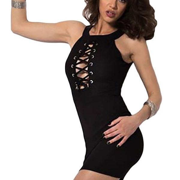 0daaf07c3241 Sexy Club Black Lace Up Halterneck Micro Mini Dress - Online Store ...