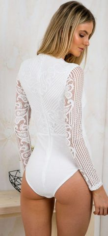 Sexy V Neck Long Sleeve Women White Bodysuit