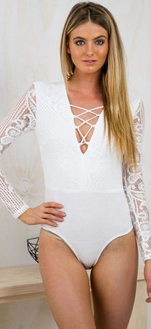 Sexy V Neck Long Sleeve Women White Bodysuit