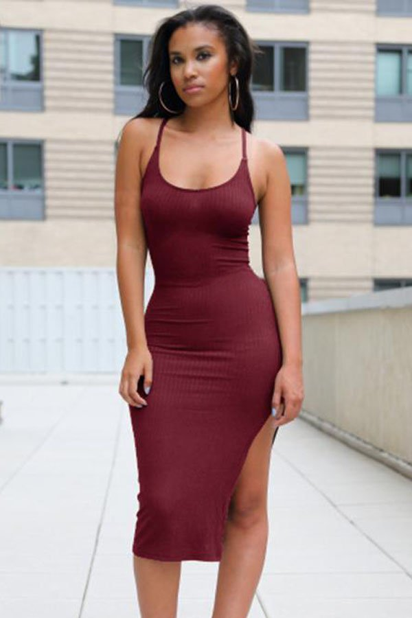 22ee0ed7ecf Women Burgundy Summer Simple Racerback Dress - Online Store for ...