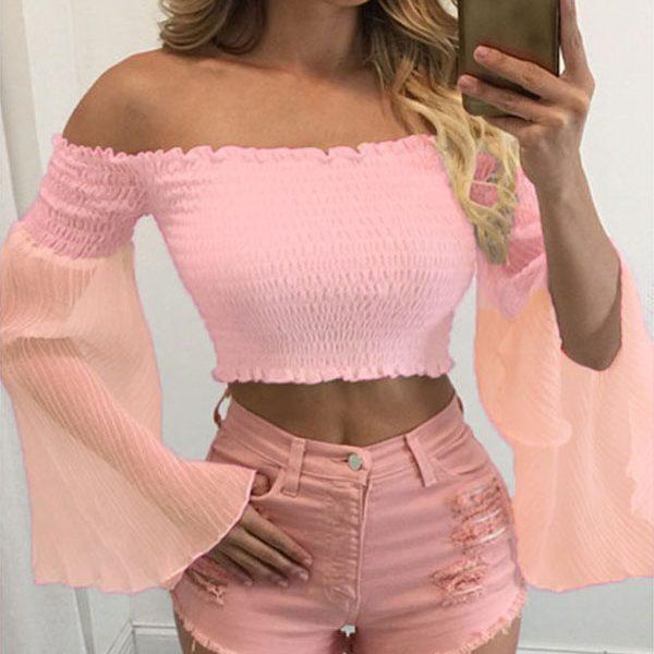 Women'S Pink Long Sleeve Blouse 11