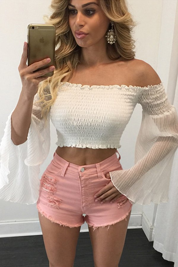 This crop top with off shoulder and backless design. It it perfect to go to evening top with this top. Pair it with your skirt and strappy heels.