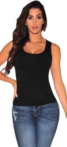 Women Sleeveless Black Back Lace Up Cami Tops