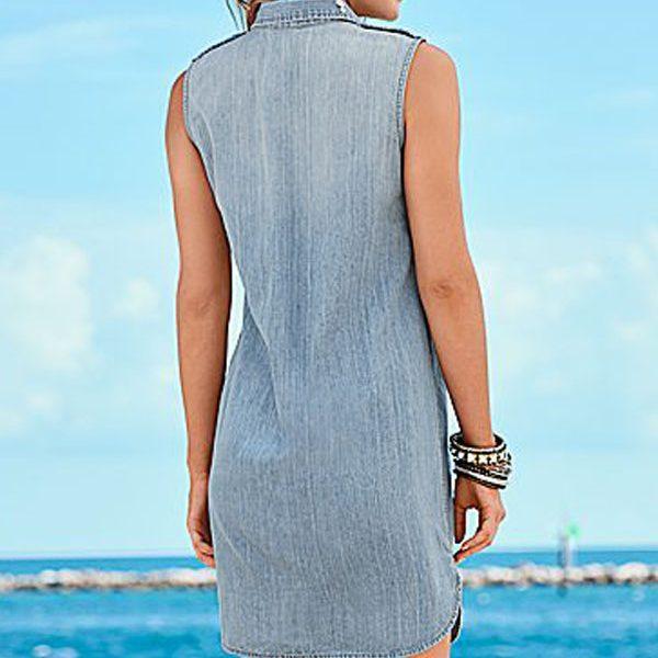 36981b8b4d Women Sleeveless Button Up Blue Jean Shirt Dress - Online Store for ...