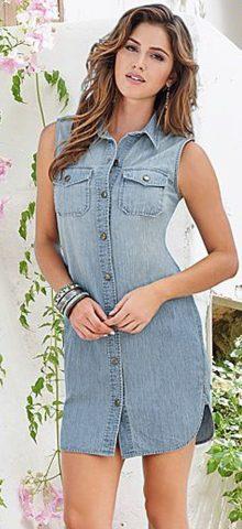 Women Sleeveless Button Up Blue Jean Shirt Dress