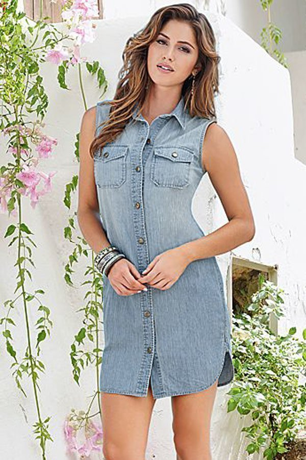 Women Sleeveless Button Up Blue Jean Shirt Dress - Online ...