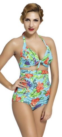2 Piece Women Flora Plus Size High Waist Swimsuit
