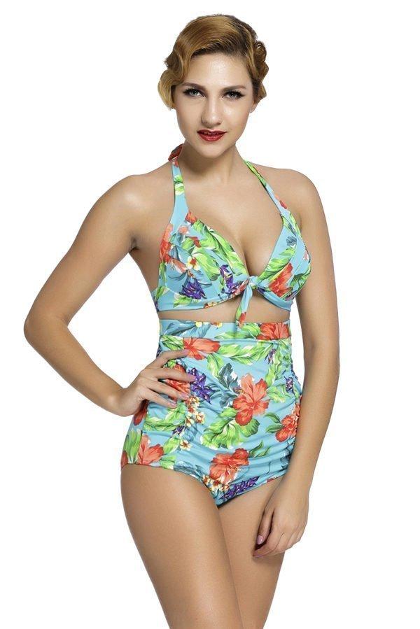 6f0071600fd36 2 Piece Women Flora Plus Size High Waist Swimsuit - Online Store for ...