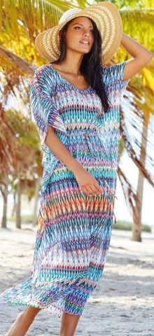 Beautiful Women Beachwear ZigZag Kaftan Dress