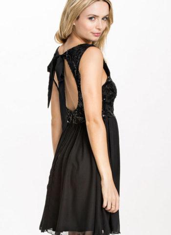 Black Sequin Petite Floral Lace Skater Dress