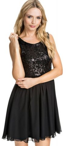 Black Sequin Petite Floral Lace Skater Dress