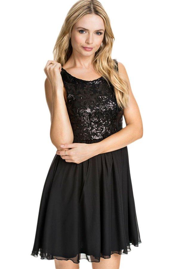 Black Sequin Petite Floral Lace Skater Dress Online