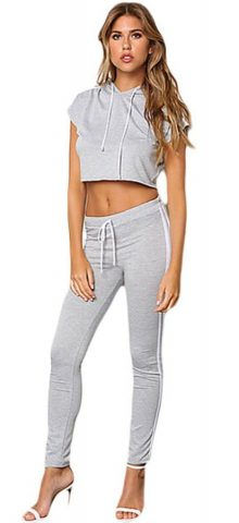 Grey Hooded Crop Top Joggers For Women