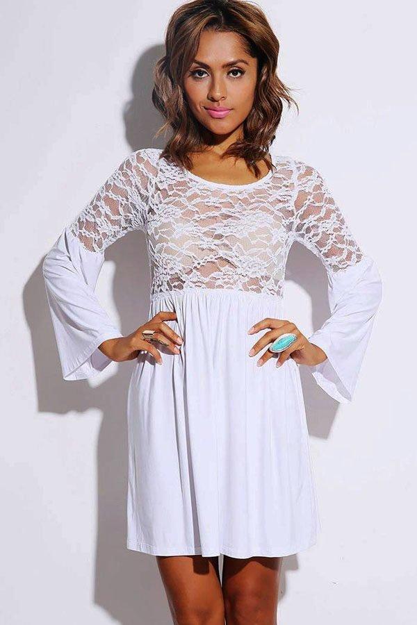 be848fe870 Lovely Sheer Retro White Floral Lace Skater Dress - Online Store for ...