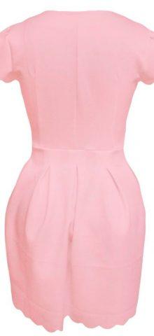 Lovely Short Sleeve Pleated Pink Skater Dress