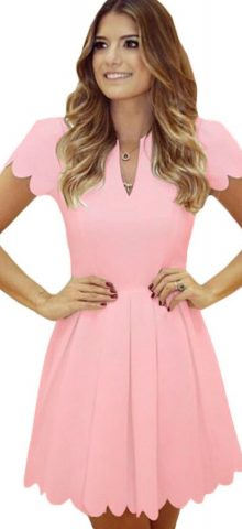 Lovely Short Sleeve Pleated Pink Skater Dress