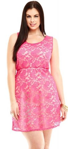Sexy Pink Lace Sleeveless Plus Size Skater Dress