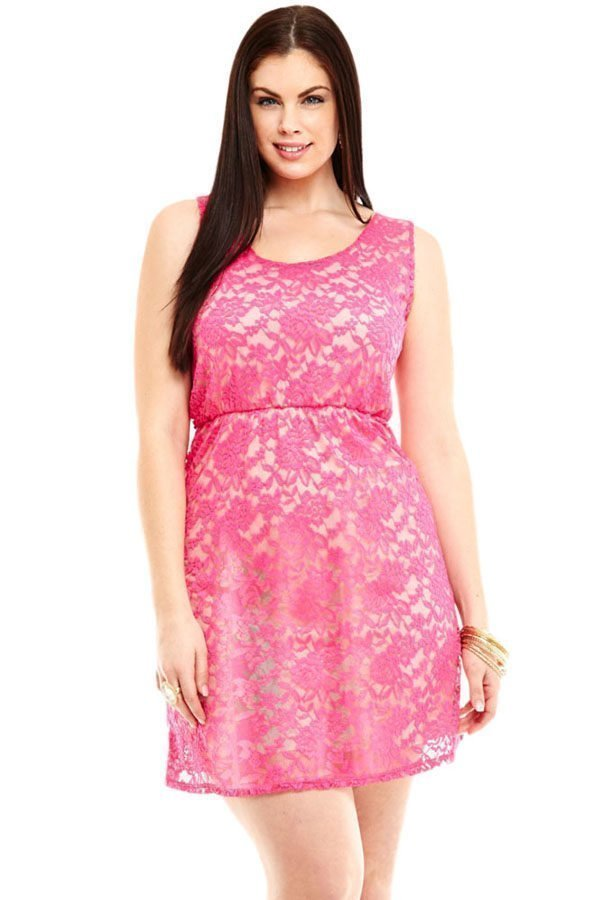 Sexy Pink Lace Sleeveless Plus Size Skater Dress Online Store For